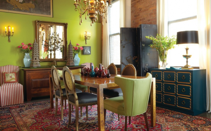 Eclectic Dining Room with Colorful Carpet