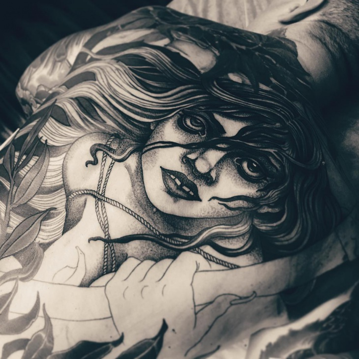 black and gray witch tattoo