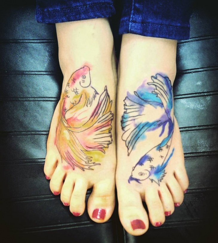 pisces foot tattoo