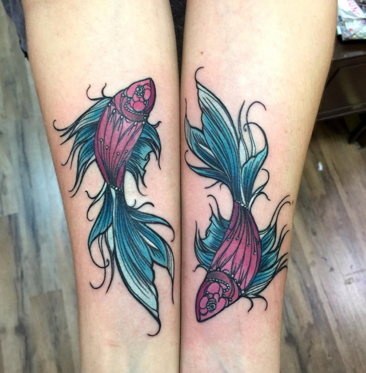 pisces leg tattoo design