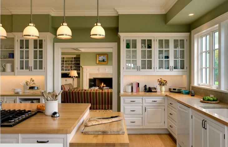 Eclectic royal Green Kitchen Design