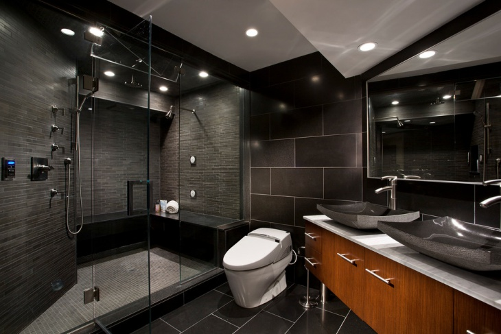 elegant bathroom with black marble