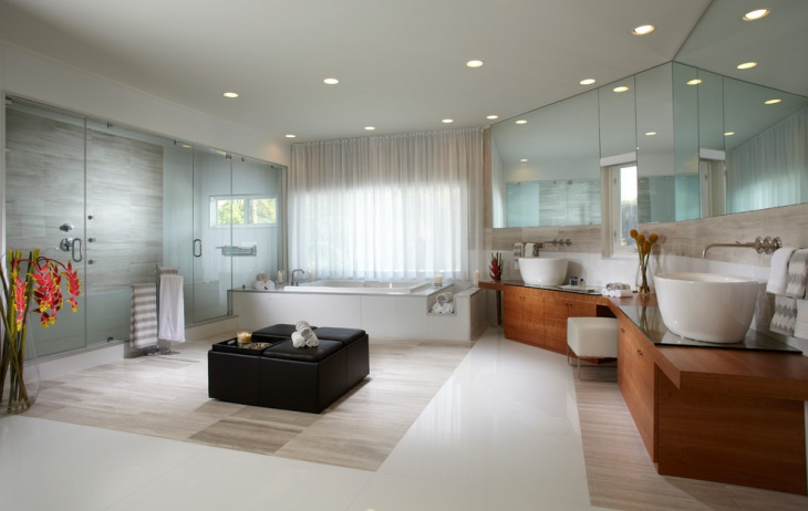 luxurious bathroom with glass wall