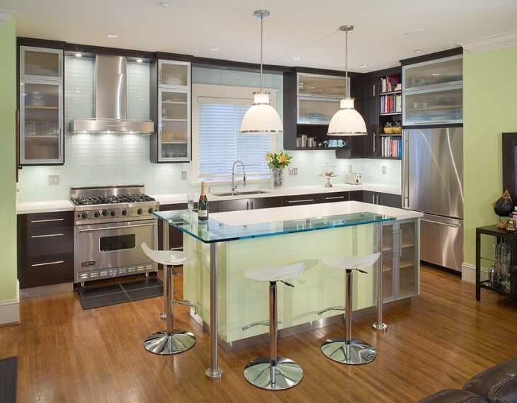 Light Green Simple Kitchen Design