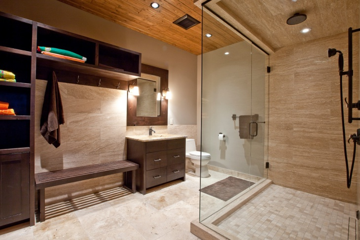 elegant bathroom with wooden storage cases