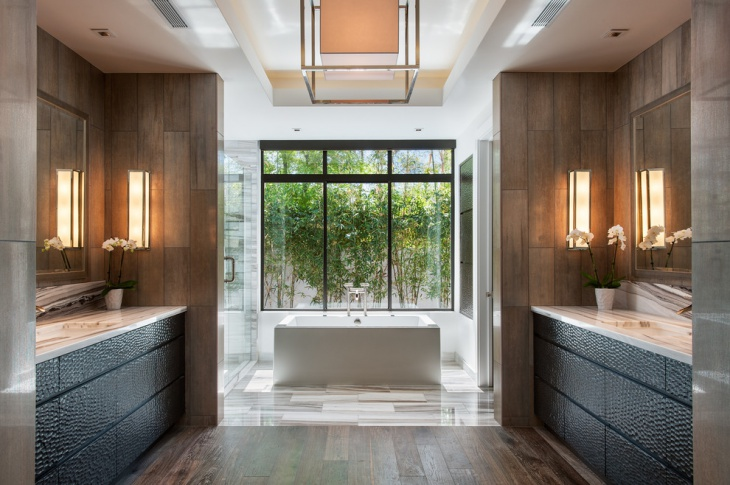 comfortable bathroom with hardwood floor