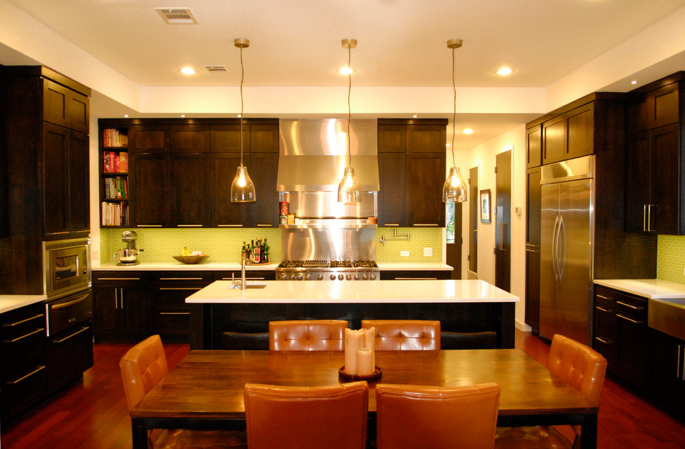 Orange and Green Kitchen Design