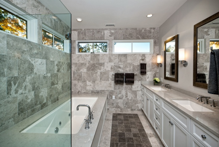 transitional marble wall bathroom