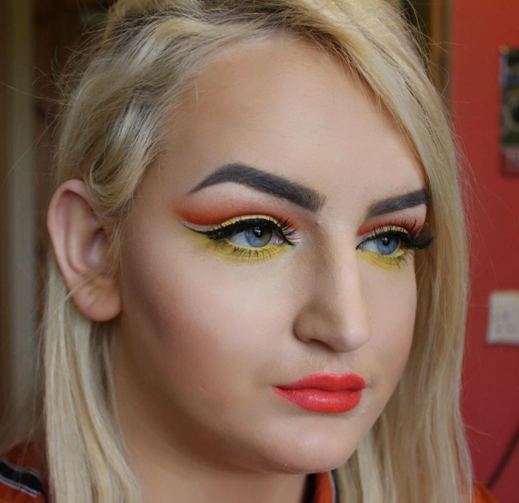 Yellow and Orange Colorful Eye Makeup