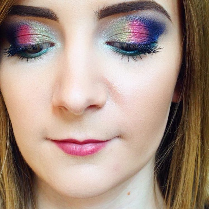 Rainbow Glitter Eye Makeup