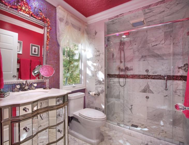 Stone Wall Feminine Bathroom Idea