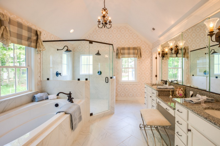Traditional Bathroom with Decorative Wall