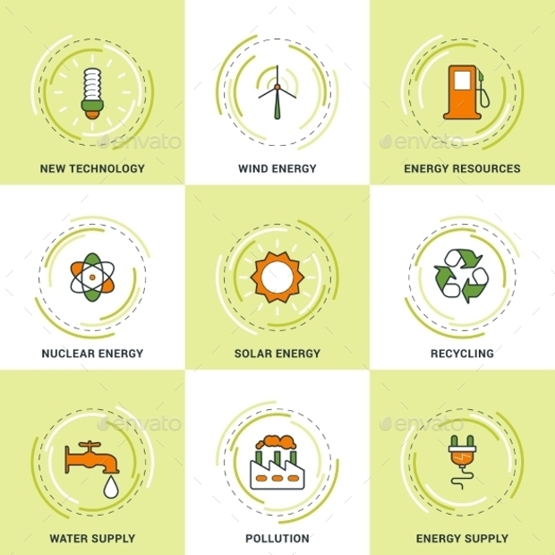modern ecology line icons