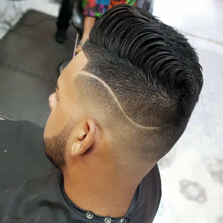 medium fade designed haircut