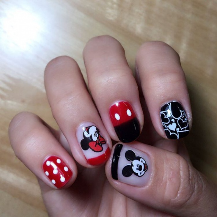 Cute Micky Mouse Stamping Nail Art - 21+ Mickey Mouse Nail Art Designs, Ideas Design Trends - Premium
