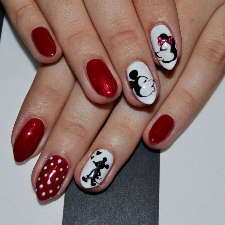 White and Black Disney Nail Art