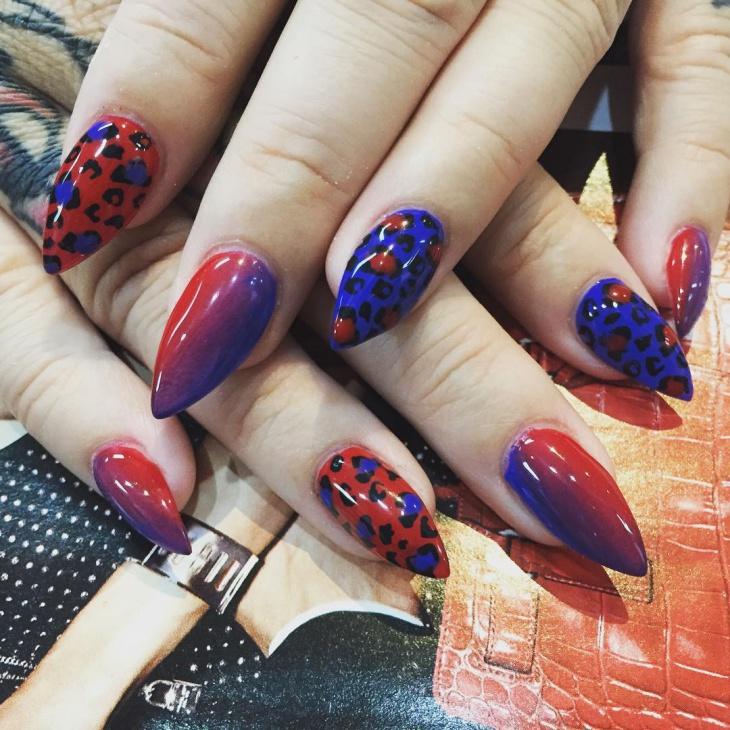 animal print shellac nail design
