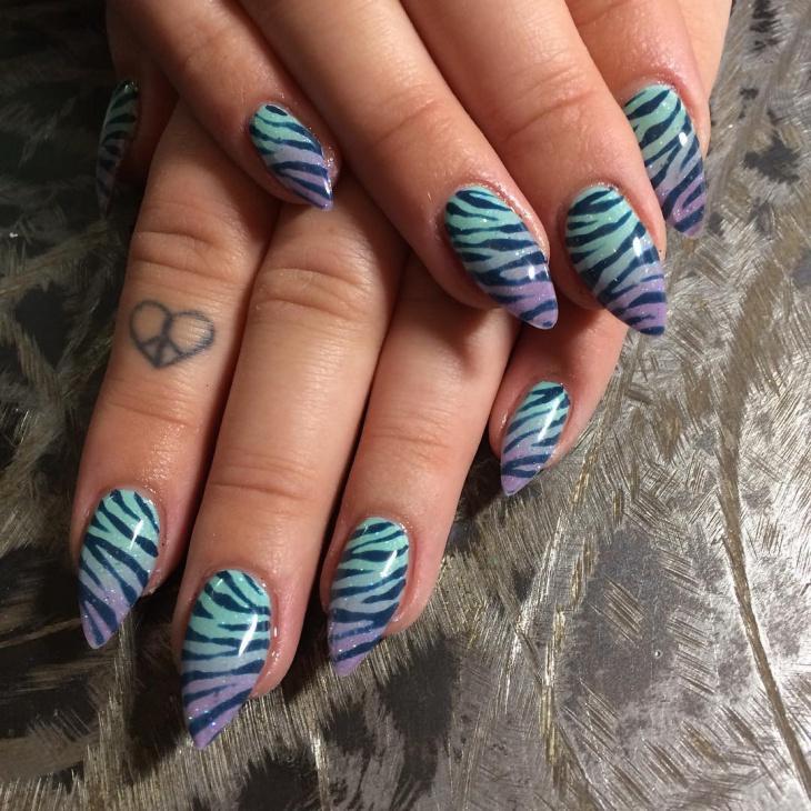 zebra art on gel nails