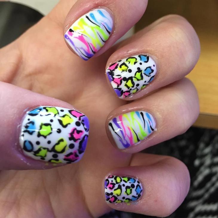 colorful animal nail art idea