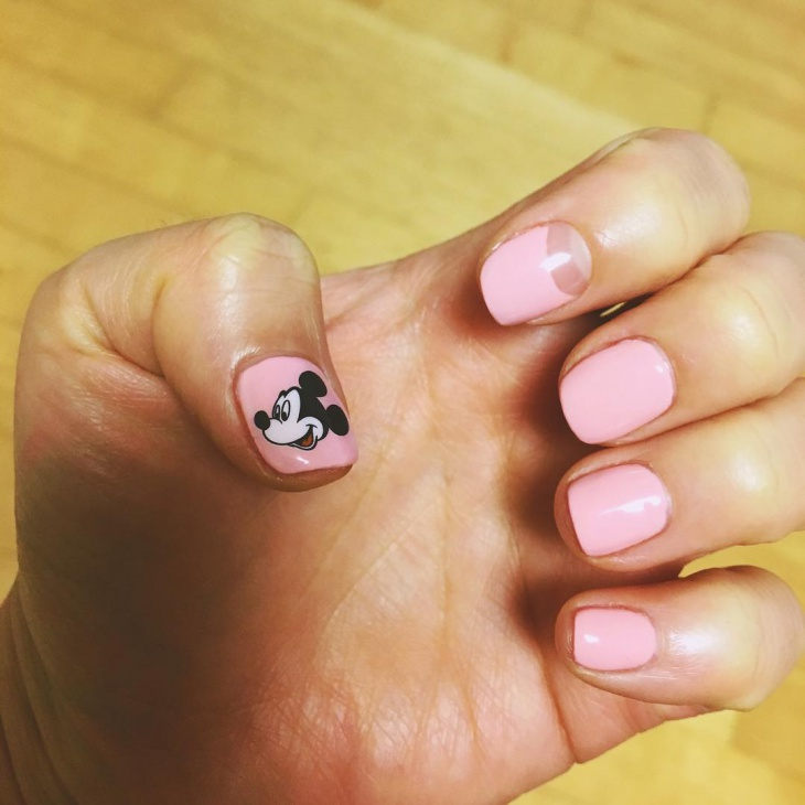 Light Pink Mickey Mouse Nails