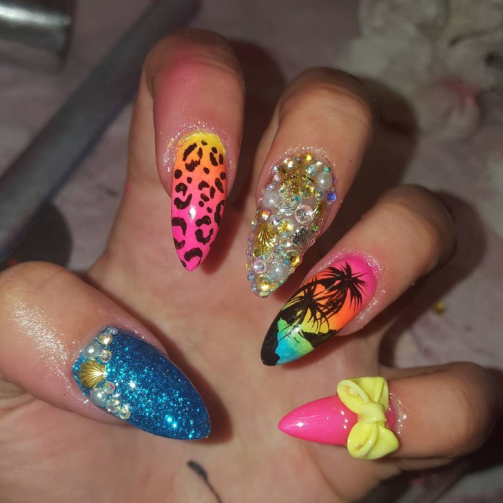 colorful bling nail art idea