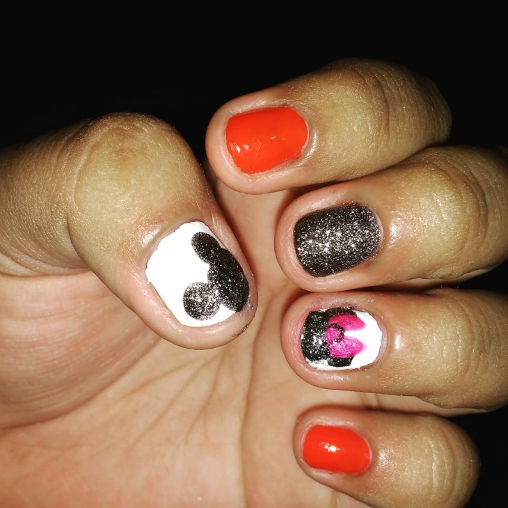 Orange and Silver Mickey Mouse Nails