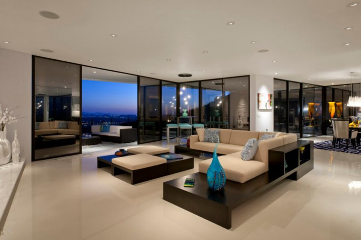 Spacious Living Room with Movable Glass Walls