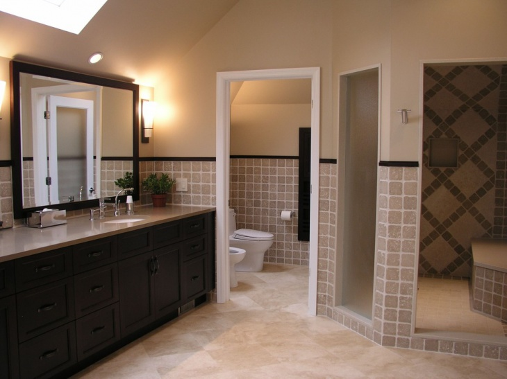 traditional bathroom with single vanity - Traditional Bathroom Tile Designs