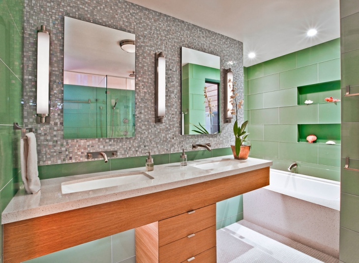 Contemporary Green Tile Bathroom