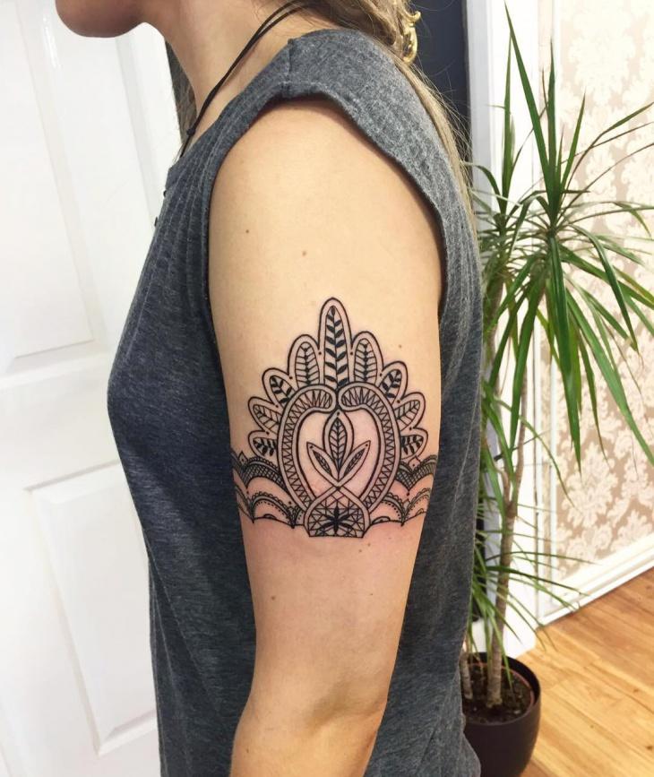 Lace Arm Band Tattoo Idea