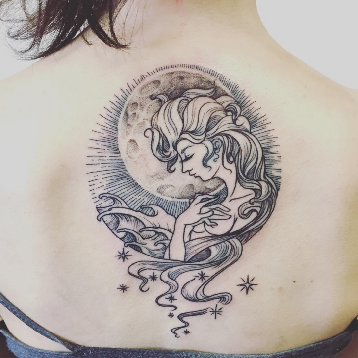 incredible aquarius back tattoo