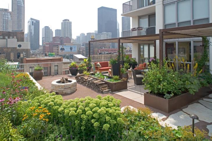 Urban Roof Garden Area