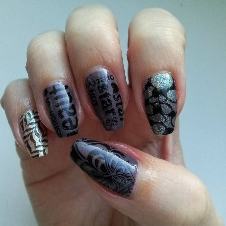 Black and Grey Newspaper Nail Art