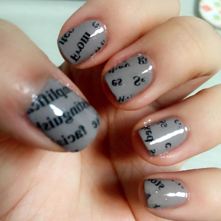 shiny grey nail art