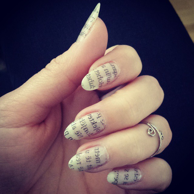 White Newspaper Nail art design