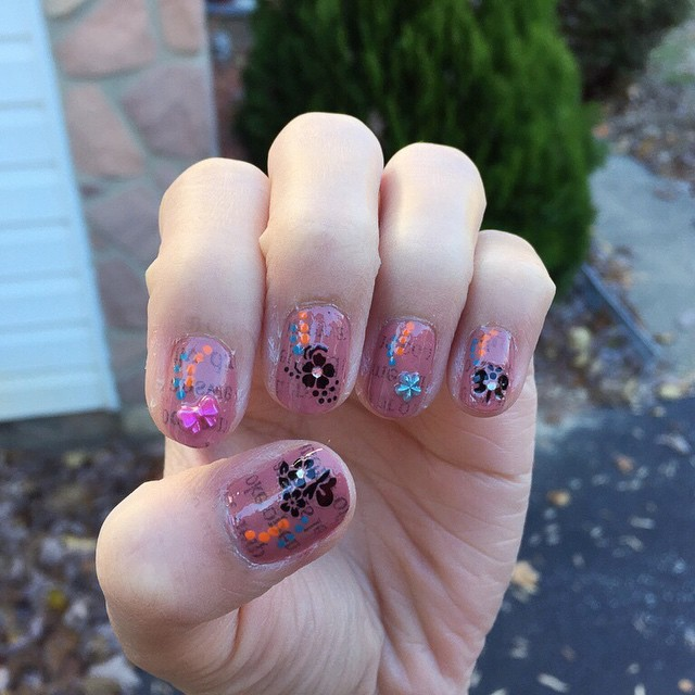 Floral Newspaper Nail Art