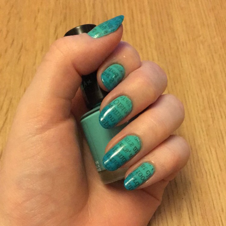 Blue Water Color Nail Art