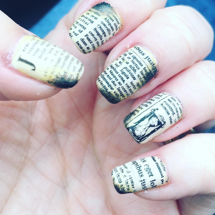 old paper newspaper nails