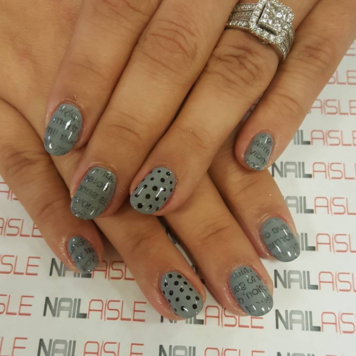 Glitter Gray Art Nail Design