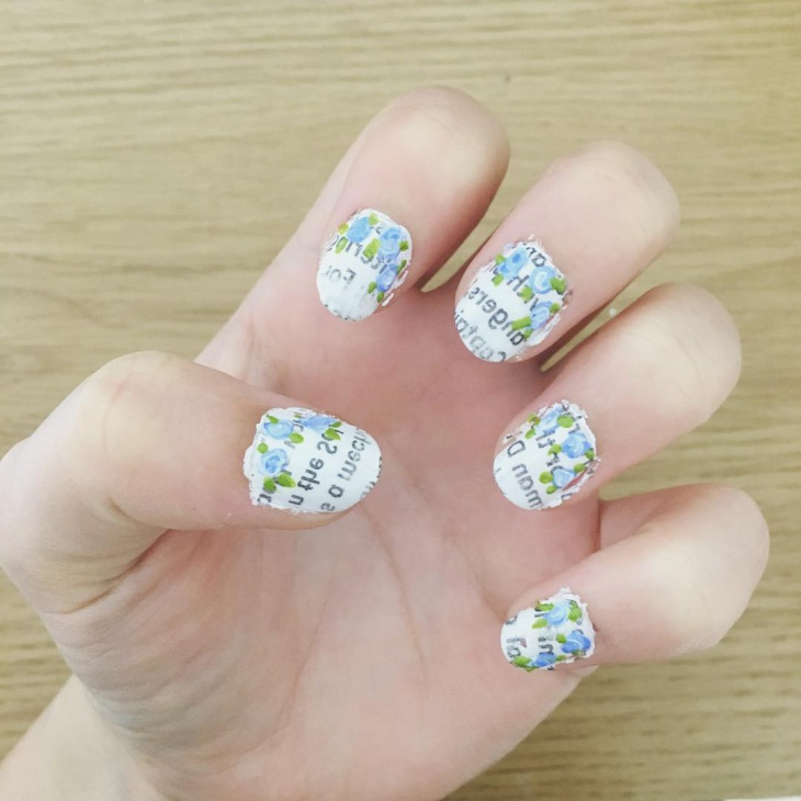 green and white newspaper nails