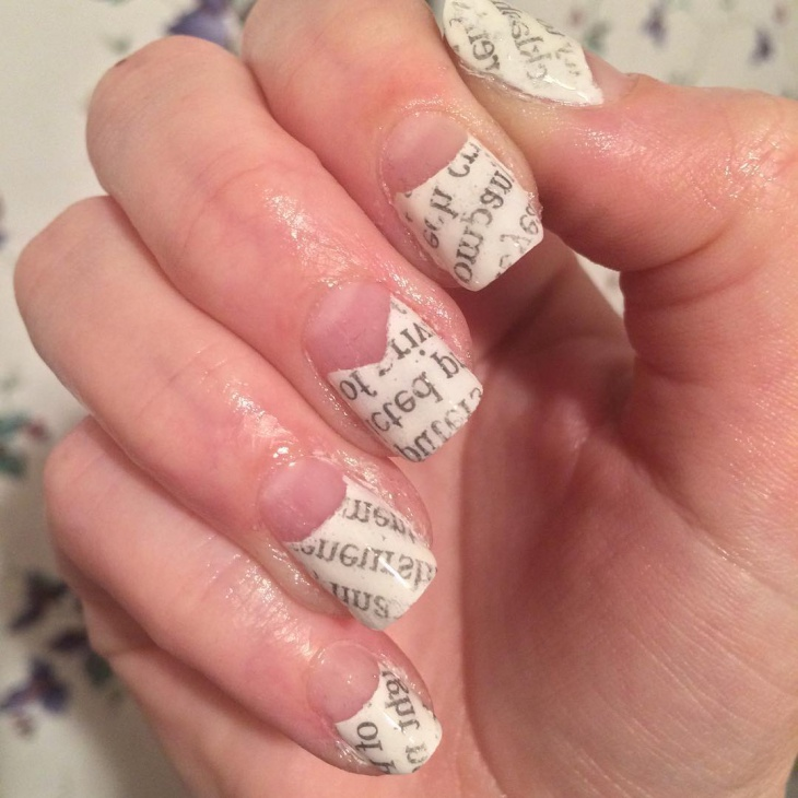 tip white newspaper nail design