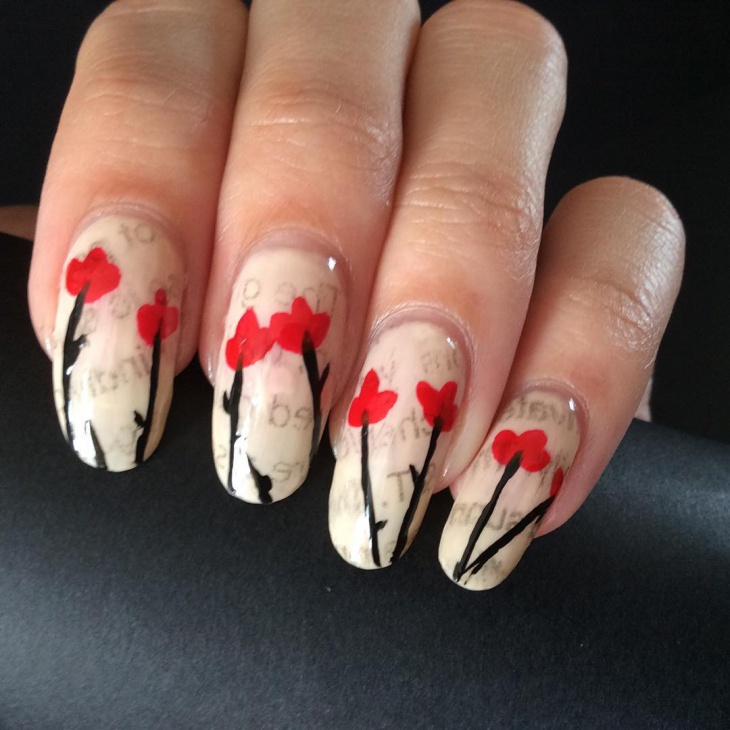 tulip flower newspaper nails