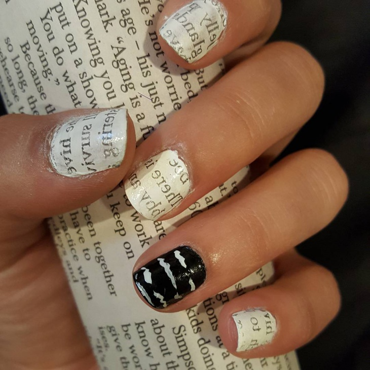 simple black and white nails