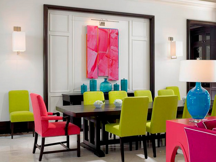 colorful tropical dining room