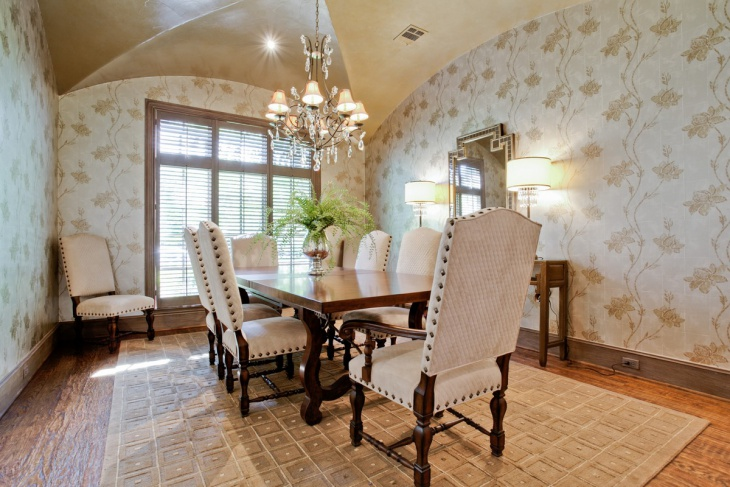 vintage look dining room with decorative wall