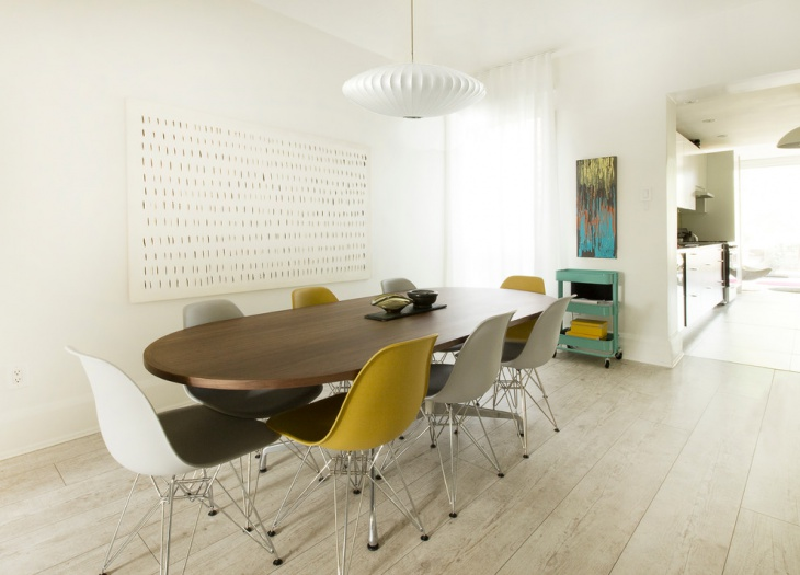 Scandinavian Dining with Yellow and White Chairs