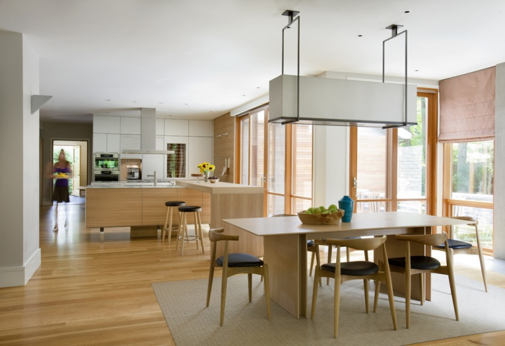 unique kitchen with wooden dining table