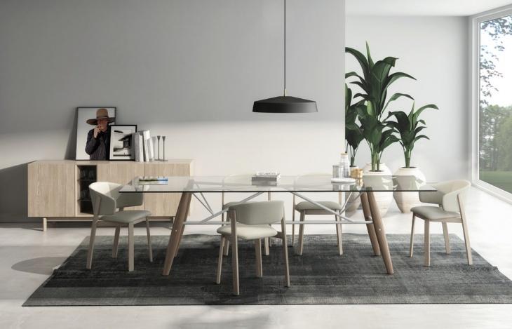 trendy glassdining table set