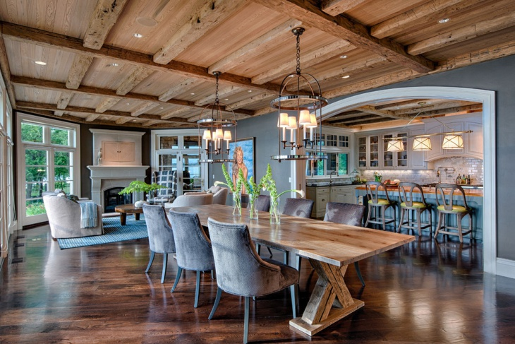 Cozy Dining Room With Wooden Roof