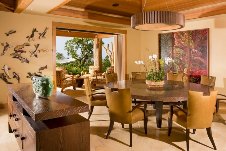Tropical Dining Room with Bright Color Chairs